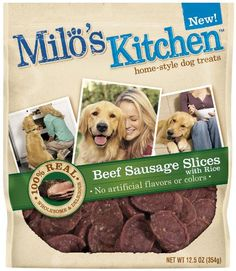 Milos Kitchen Dog Treats Beef Sausage Slices with Rice 125Ounce Package -- You can get additional details at the image link.