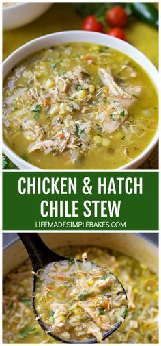 Chicken and Hatch Chile Stew – Life Made Simple This bold and flavorful chicken and hatch chile stew is ready to go in just 1 hour! It's loaded with shredded chicken, fresh corn, rice, and of course hatch chiles! Green Chili Recipes, Mexican Food Recipes, Chicken Flavors, Chicken Recipes, Hatch Chili, Cooking Recipes, Healthy Recipes, Best Soup Recipes, Favorite Recipes