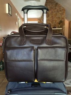 Classic dark brown leather TaboLap laptop bag