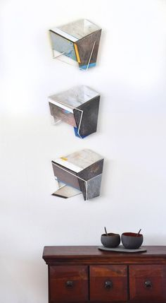 Composition of three miniatures (KB KB KB Painting by Marko Tusek Modern Art, Contemporary Art, Good Environment, Acrylic Material, Art Object, Box Frames, White Walls, Saatchi Art, Composition