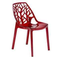 LeisureMod Cornelia Cut-Out Tree Design Modern Dining Chair (Transparent Red)