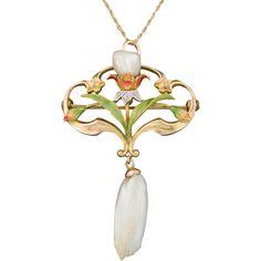 Antique Art Nouveau Enamel Pearl Necklace by Bippart Griscom & Osborn, 14k Gold
