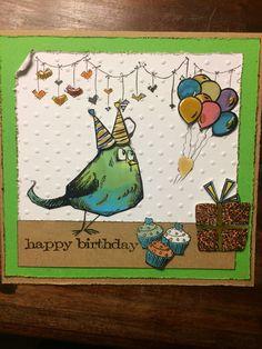 Crazy Bird birthday card