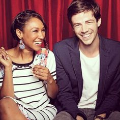 Candice Patton and Grant Gustin from the TV show 'The Flash'  shipname: WestAllen.They are just so cute together   #theflash   #kurttasche