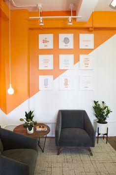 For startups it is a great idea to do a fun paint scheme and simple furniture that can be changed out in 2 years. Photo above designed by Dani Arps. Day One Agency - New York City Offices