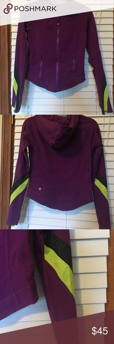 Lululemon hoodie jacket Lululemon grape slim fit jacket with hood, thumb holes, striping on arms in lime and charcoal gray. Perfect condition! lululemon athletica Tops Sweatshirts & Hoodies
