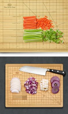 The Obsessive Chef Cutting Board by Fred & Friends // OCD chopping board... haha #productdesign