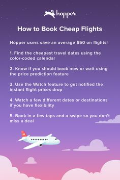 Hopper tells you when to fly & buy! Save up to 40% on your next flight. Travelling for your wedding, to a fashion show or a sports event? Watch & book cheap flights with Hopper!