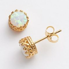 14k Gold Over Silver Lab-Created Opal Crown Stud Earrings