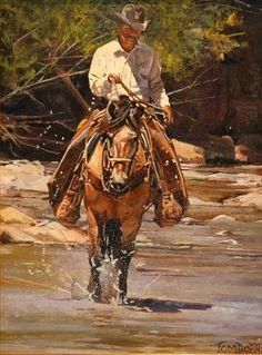Cowboy in the Creek - Tom Dorr Cowboy Horse, Cowboy Art, Into The West, West Art, Le Far West, Equine Art, Wildlife Art, Horse Art, Beauty Art