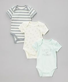 Look what I found on #zulily! Vitamins Baby Green, Pink & Gray 'Little Peanut' Bodysuit Set - Infant by Vitamins Baby #zulilyfinds