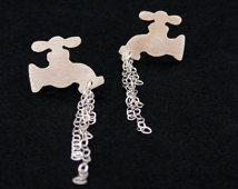 Sterling Silver Faucet Earrings - Leaking Tap Studs - Crazy Odd Weird Jewelry