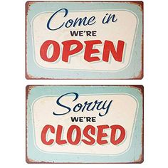"""Tin Metal Signs """"Open Closed"""" Bar Cafe Shop Vintage Old Time Feel Door Decor Advertising Signs, Vintage Advertisements, Vintage Ads, Open Signs, Closed Signs, Vintage Tin Signs, Cafe Shop, Cafe Bar, Metal Tins"""