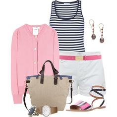 Navy Stripes & Pink, created by fashionista88 on Polyvore