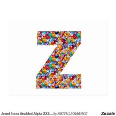 Jewel Stone Studded Alpha ZZZ z ZZ  Birthday Gifts Postcard