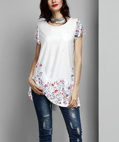 4e57f63d Look what I found on #zulily! White Floral Boyfriend Tunic #zulilyfinds  Tunics,