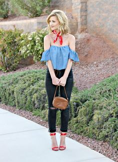 Chambray off the shoulder with red bandana