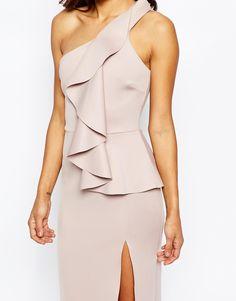 Image 3 - ASOS - RED CARPET - Maxi robe en néoprène à épaule asymétrique et encolure rabattue