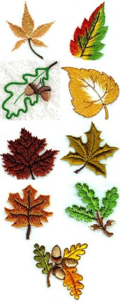 """Looks like """"Designs by Sick"""" is starting to run the stitching """"grain"""" direction in multiple ways, to best mimic the real thing in embroidery. Embroidery Leaf, Embroidery Needles, Hand Embroidery Stitches, Hand Embroidery Designs, Embroidery Techniques, Cross Stitch Embroidery, Embroidery Jewelry, Embroidery Letters, Embroidery Software"""