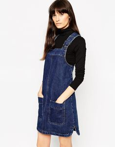 ASOS Denim Pinafore Dress With Patch Pockets In Rich Blue