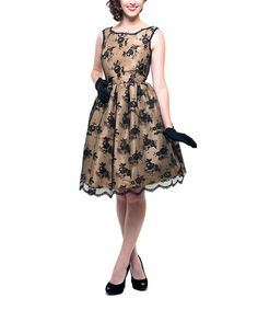 Take a look at this Taupe & Black Lace Fifties Dress by Unique Vintage on #zulily today!