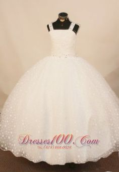 2013 Exquisite White Straps Beaded Decorate Little Girl Pageant Dress - US$163.28