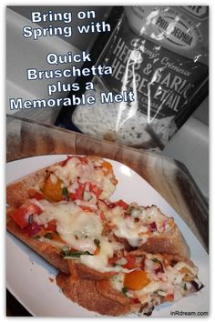 Celebrate Spring Time with Quick Bruschetta w/ a creamy twist using @kraftcanada Shredded Cheese #TouchofPhillyCheese #MemorableMelts