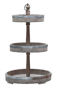 """Rustic farmhouse beauty! Made from wood and tin. 26 ¾"""" Tall, Bottom tray is approx. 15 inches. Middle tray is approx. 12 inches and the top tray is approx. 9 inches"""