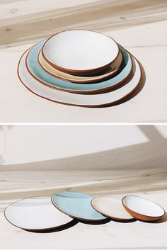 Beautiful set of handmade ceramic plates in earth tones, perfect for a minimalist home. Functional and decorative, these bowls and plates would look stunning displayed on floating kitchen shelves. Handmade Ceramic, Handmade Pottery, Dining Plates, Ceramic Plant Pots, Kitchen Must Haves, Gifts Under 10, Plates And Bowls, Modern Ceramics, Kitchen Shelves