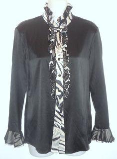 1e6918c845351 St. John Black Stretch Silk Button-down Top Size 2 (XS). Tradesy