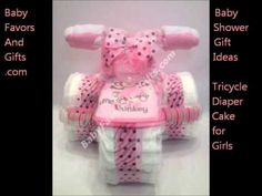 Tricycle diaper cake, unique baby shower gift ideas for baby boy and baby girl http://BabyFavorsAndGiftys.com Baby shower centerpieces, baby shower table decoration, baby shower theme