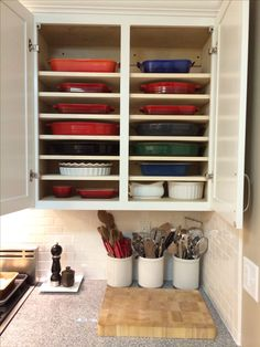 My new cabinets for bakeware.  Easy in easy out.