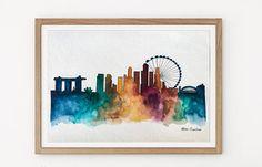 Singapore Skyline Watercolor Painting Travel Illustration