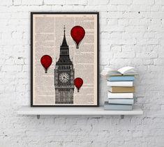 Vintage+Book+Print++London+Big+Ben+Tower+Balloon+Ride+by+PRRINT