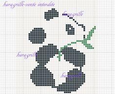 free-panda 1 Cute Cross Stitch, Cross Stitch Animals, Cross Stitch Designs, Cross Stitch Patterns, Pixel Crochet Blanket, Crochet Chart, Crochet Patterns, Knitting Charts, Baby Knitting