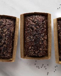 These dairy-free black sesame chocolate-banana loaf cakes use oil and silken tofu for a delicious, moist texture.