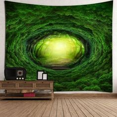 Nature Tree Hole Wall Art Tapestry - GREEN W79 INCH * L59 INCH