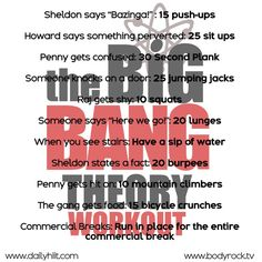 The Big Bang Theory Workout Tv Workout Games, Netflix Workout, Tv Show Workouts, No Equipment Workout, Netflix Tv, Fun Workouts, At Home Workouts, Disney Movie Workouts, Workout Plans