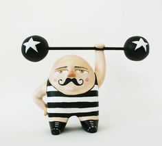 One of a kind figurine - Paper clay art -. Sergei, the Russian weightlifter-Sweet Bestiary