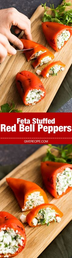 Feta Stuffed Red Bell Peppers - Roasted red bell peppers are stuffed with a mixture of feta, Greek yogurt, garlic and parsley.