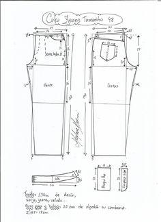 Esquema de modelagem de calça jeans tradicional tamanho 48.