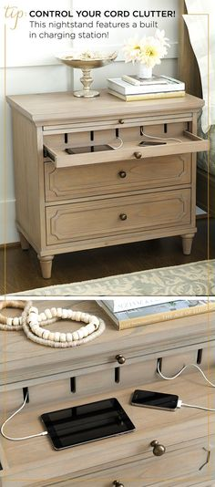 Great idea for nightstand design. - Bedroom organization can be a pain - but how clever is this? Keep all of your devices organized with our Isabella Charging Nightstand.