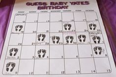 guess baby's birth-date calendar. great baby shower game/activity. perfect keepsake for your baby scrapbook. by antonia