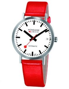 Mondaine Official Swiss Railways Watch collection is the simple design, the unmistakable easy-to-read face, distinctive hands and the famous red seconds watch Mens Designer Watches, Luxury Watches For Men, Swiss Railway Clock, Swiss Railways, Black Leather Watch, Red Leather, Swiss Army Watches, Automatic Watch, Cool Watches