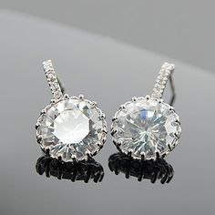 Elegant Clear with Post Back Earrings