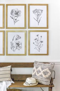 Modern Minimalist Botanical Printable Set - Bless'er House - A free high resolution printable set of black and white modern minimalist botanical art and the best aged brass spray paint for frames. Framed Botanical Prints, Botanical Art, Free Prints, Wall Prints, Free Printable Art, Free Poster Printables, Boho Home, Modern Minimalist, Minimalist Bathroom