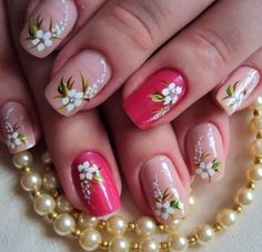 Beautiful Floral Nail Art Ideas for 2017 Floral Nail Art, Nail Art Diy, Easy Nail Art, Diy Nails, Arte Floral, Nail Art Designs 2016, Simple Nail Art Designs, Fingernail Designs, Nail Candy