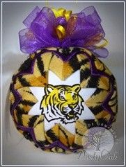 Handmade in Louisiana!!  Awesome LSU ornament, by http://dustyoakornaments.com/ TONS of designs to chose from!