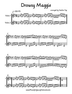 FIDDLE MUSIC: Drowsy Maggie arranged for 2 Violins. One of my favorite fiddle tunes! Happy Music Making! www.MusicforYoungViolinists.com #FreeSheetMusic, #FreeViolinMusic, #ViolinMusic