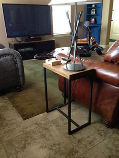 Side Table.  Rustic Wood Table Top With Metal Frame